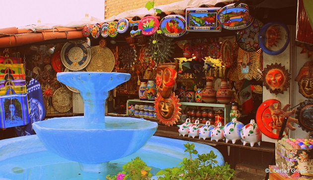 Olvera Street Los Angeles blue fountain
