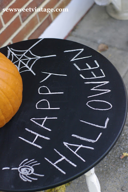 chalk board table for Halloween