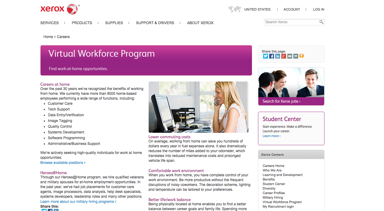 45 work at home opportunities available with xerox telecommunity