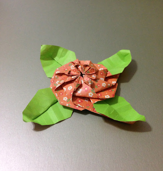 Origami flower with leaves mightylinksfo