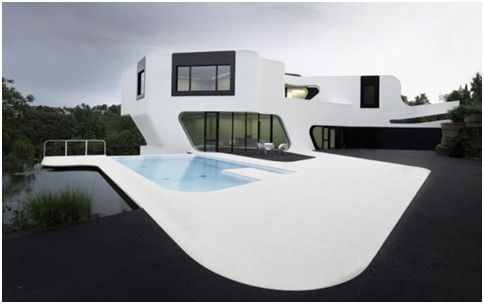 MINIMALIST HOUSE FACADE SWIMMING POOL Dupli.Casa by J. Mayer H. Architects