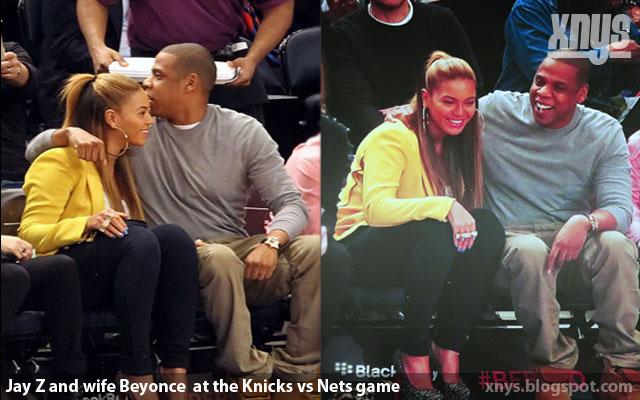 Jay Z and wife Beyonce at the Knicks vs Nets game