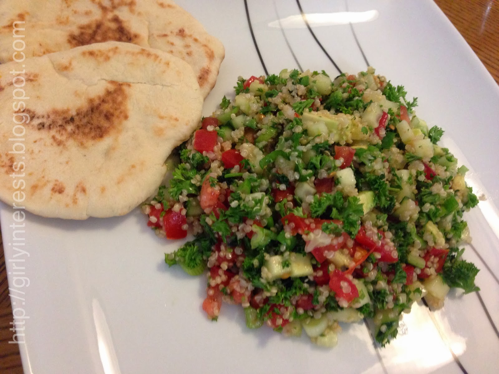 girlyinterests.blogspot.com - quinoa tabbuleh salad with avocado