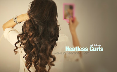no+heat+curls2 Kim Kardashian Hairstyles, How to No Heat Curls | Hair Tutorial Video