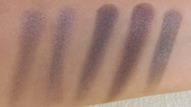 Taupe eyeshadow comparison swatches - Addiction Flash Back, Majolica Majorca BR799, MAC Moth Brown, MAC Stolen Moment, Urban Decay Mushroom