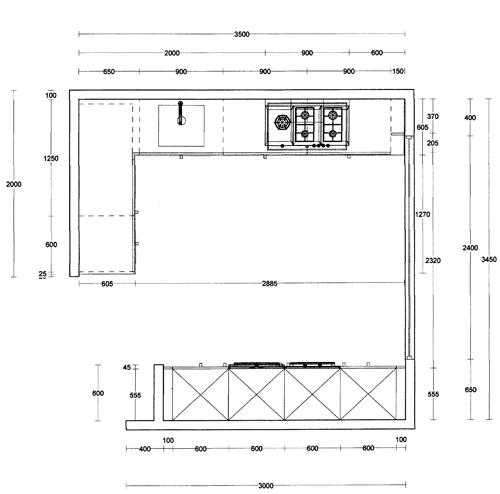 Plattegrond Keuken Ontwerpen : Het plattegrond van de keuken. Aan de rechterzijde zit een groot raam