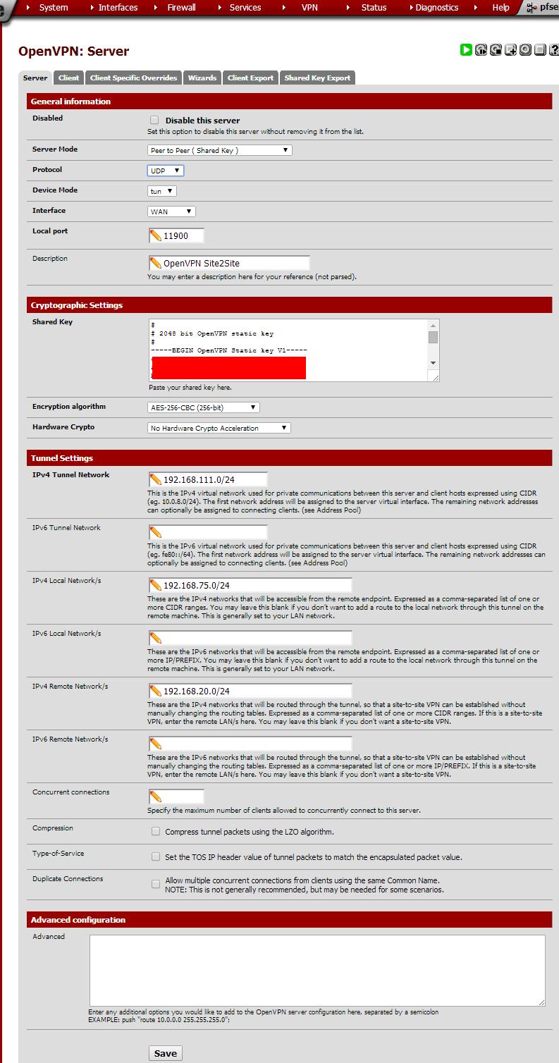pfSense OpenVPN Site2Site