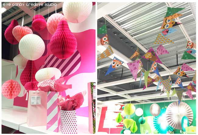 party supplies at IKEA, paper goods, pink arty supplies, animal bunting
