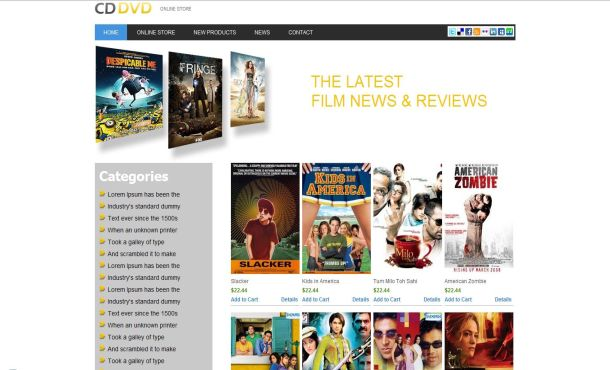 Free DVD Movies Store Website Template