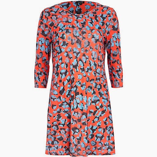 river island red print dress