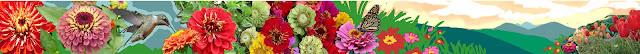 Zinnia mural design, Floral Mural design, Garden mural design, Mural Banner