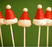 Mini Santa hat cake pops