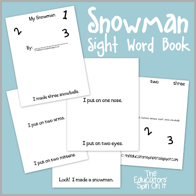Snowman Sight Word Book