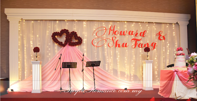 Wedding Decoration Malaysia, Stage backdrop, photo booth, reception table, photo album table, walkway, flower stands, spotlights, purchong, selangor, kuala lumpur, VIP centerpiece, DIY, handmade, cake cutting table decoration, elegant, heart shapes, flower, floral, harmony banquet restaurant