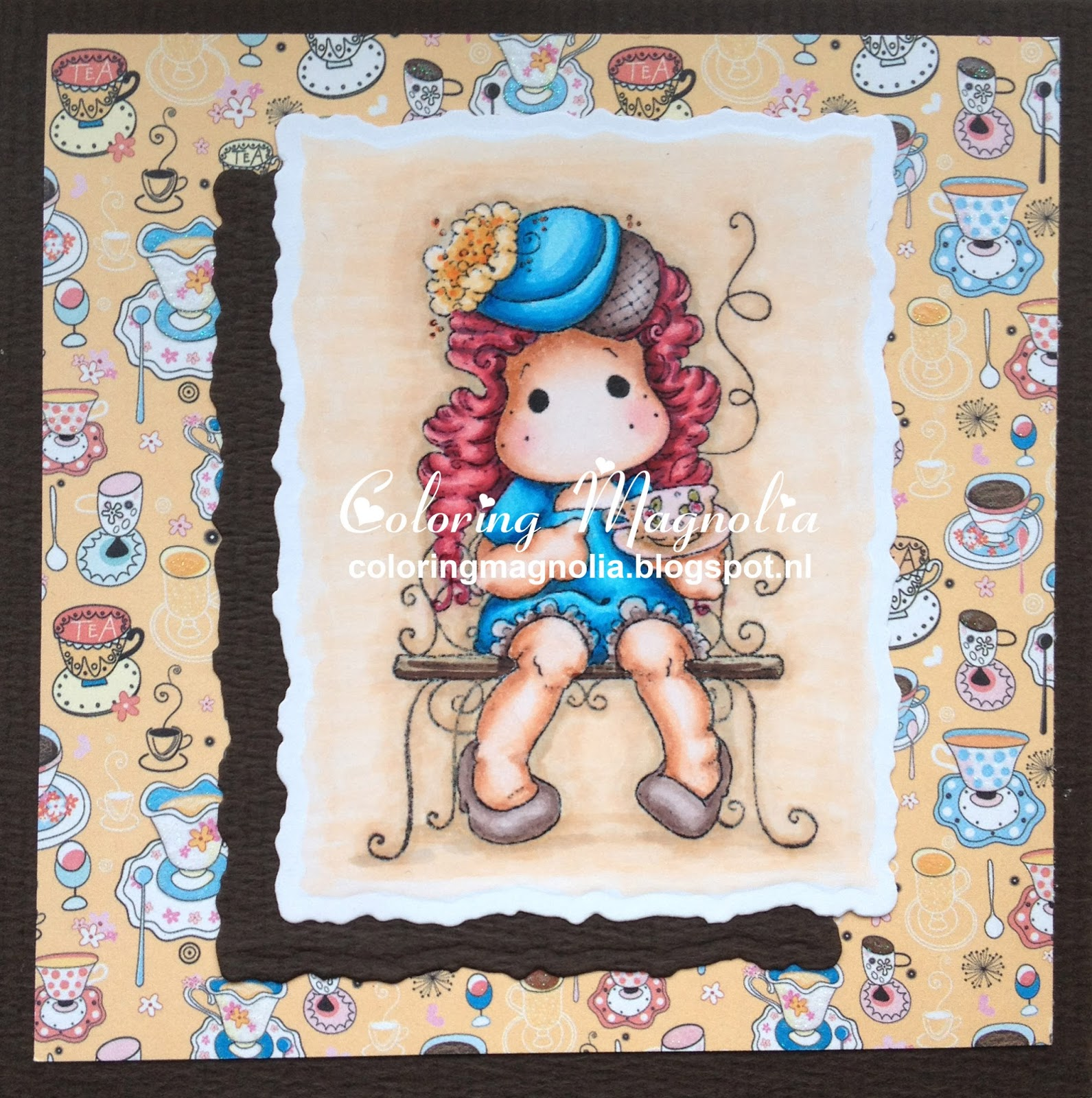 Coloring Magnolia Stamp 2013 Little London Collection - Afternoon Tea Tilda - Afternoon Tea Bench