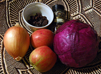 Salad Ingredients: cabbage, apples, onion, raisins, caraway seeds
