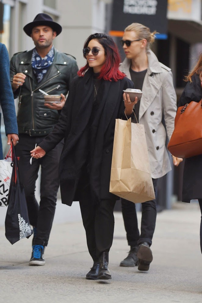 Vanessa Hudgens flaunts red hair and an all black outfit out and about in Soho