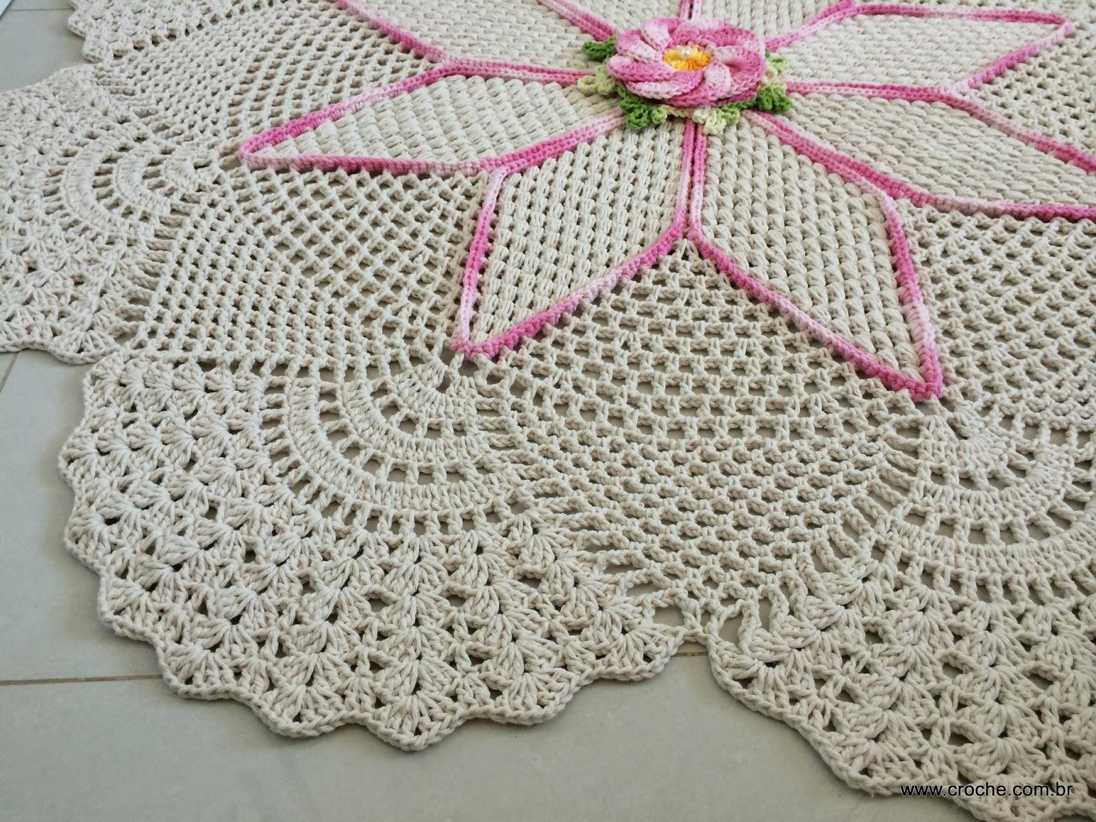 Tapete Redondo Flor Bergamota Croche Com Br -> Tapete Para Sala De Barbante Redondo