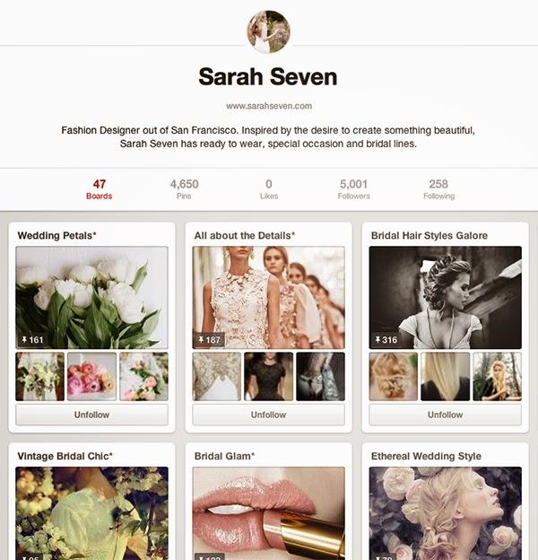5K Followers on Sarah Seven Pinterest