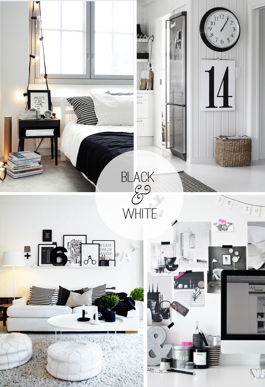 Black and white decor casual cottage Bedrooms decorated in black and white