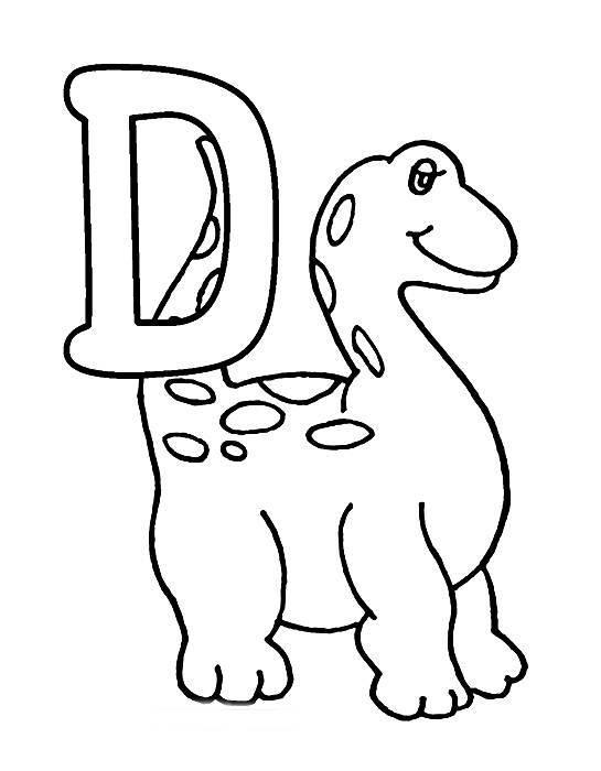 Desenhos Preto e Branco letras do alfabeto letra D Colorir