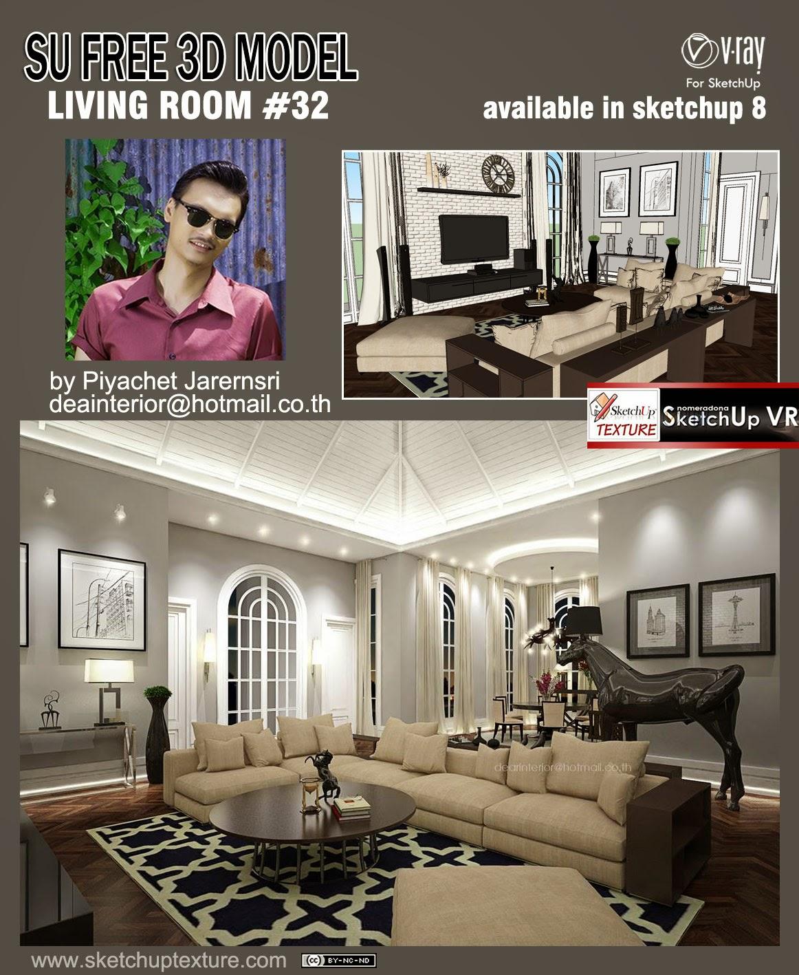 SKETCHUP TEXTURE: Free sketchup 3d model living room #32 vray setting