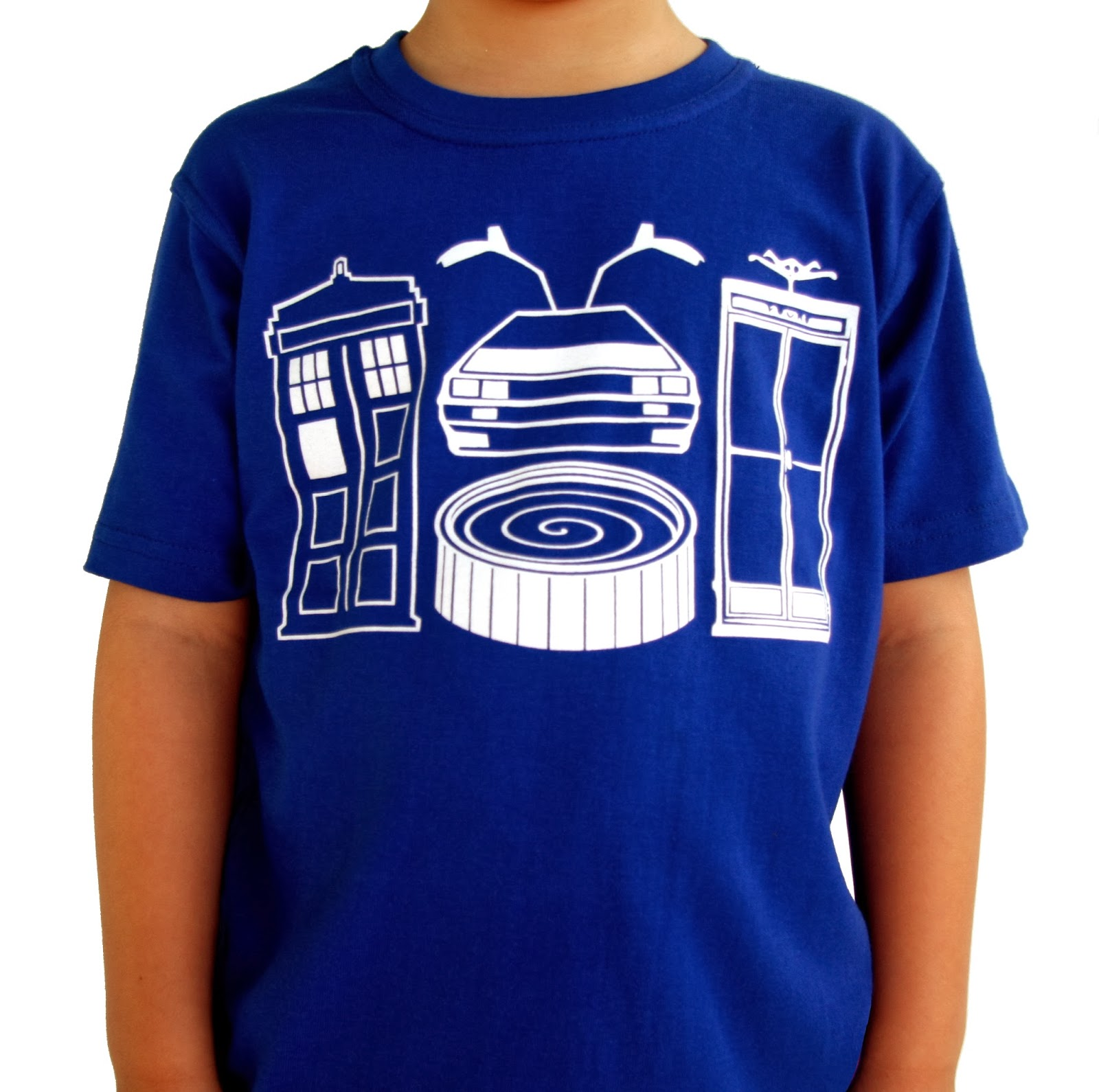 Mini Mayhem blue time travel boys t-shirt dr who deloreon bill and ted hot tub time machine