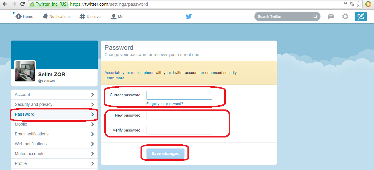 media help change password
