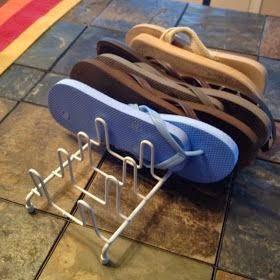 Organize flip flops in a plate rack organizer:: OrganizingMadeFun.com