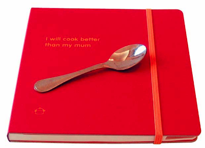 red recipe journal - says I will cook better than my mum