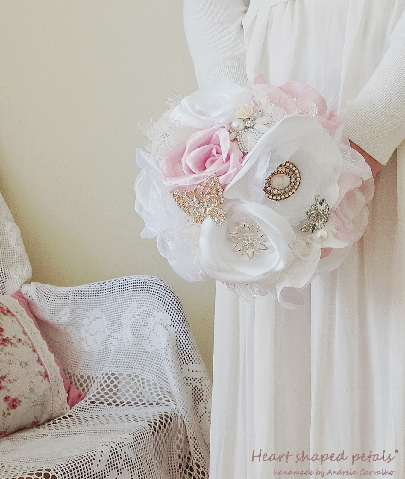 Fabric bouquet with brooches