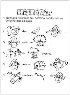 Atividade - Substitua o desenho por palavra. Alfabetização.