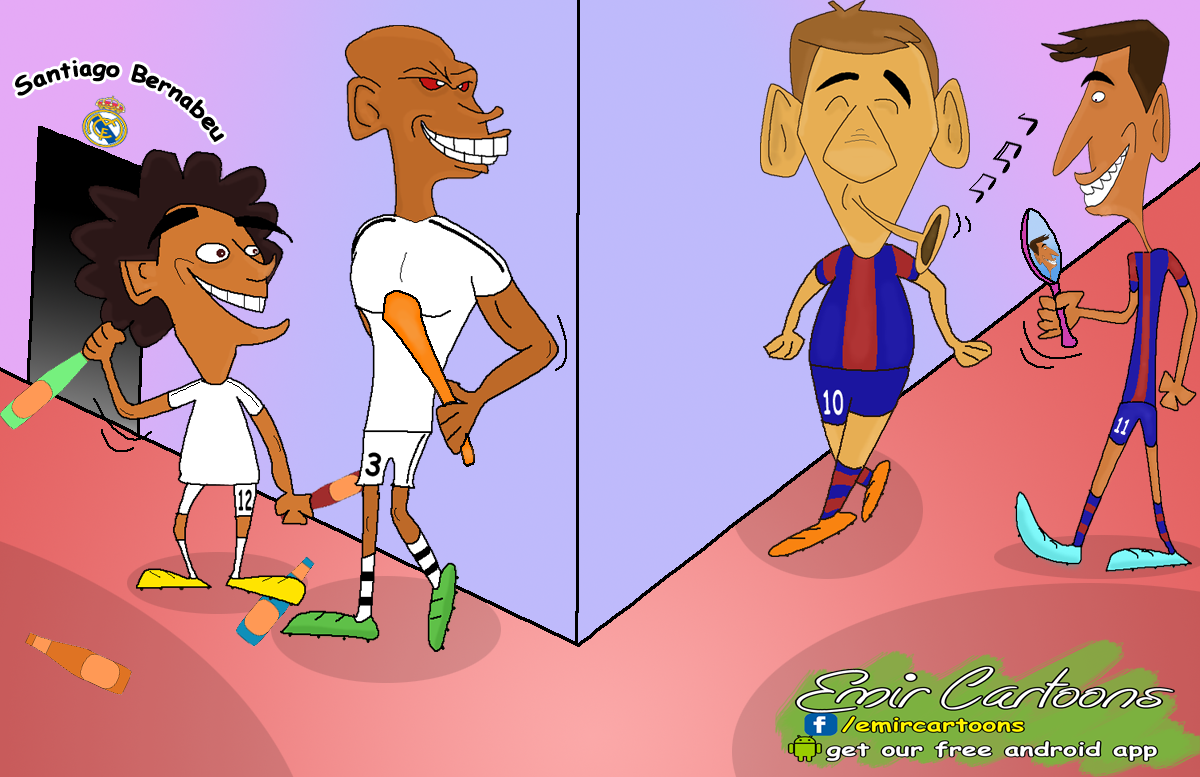 El Clasico,real madrid barcelona,real madrid ,barcelona,karikature,fudbal,karikatura dana, emir balkan cartoons, omar momani,