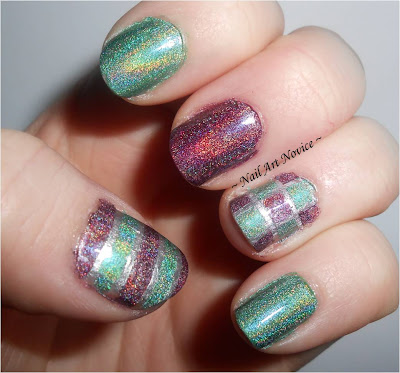 Striping Tape Nail Art with Layla Holo Effects in Misty Blush and Emerald Divine