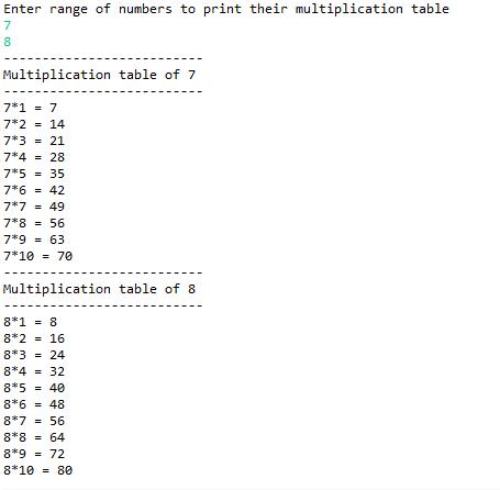 Print Multiplication Tables For Given Range