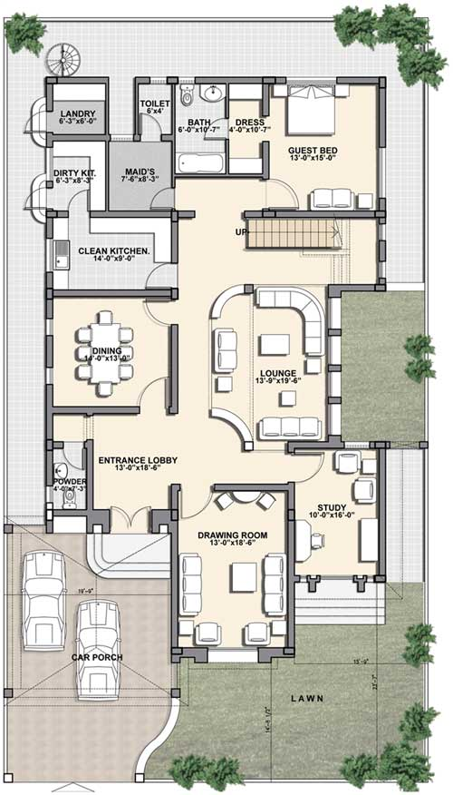 I Kanal House Plan