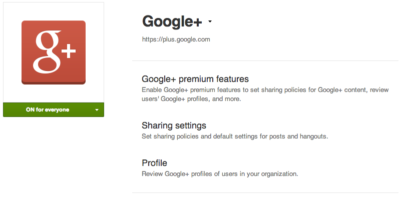 Google+ in the Admin Console