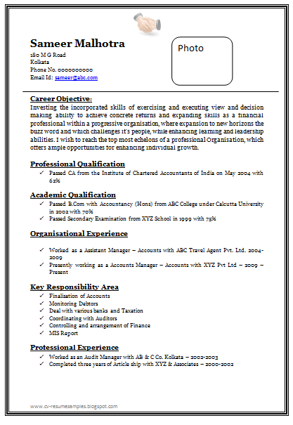 High Quality Free Download Link For Professional Chartered Accountant Resume Sample Doc