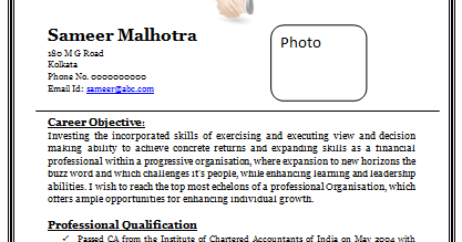 Indian chartered accountant resume samples