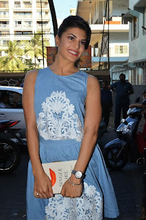 Bollywood Actress Jacqueline Fernandez Pictures in Blue Short Dress at Dental Specialty Clinic Smile Bar  0003