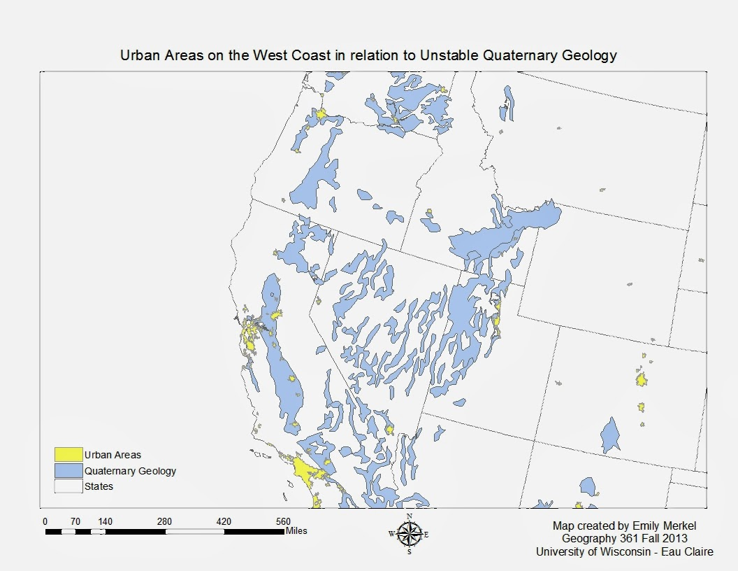 focusing in on the west coast we will look at quaternary geology along side urban areas this map is simple but great because it shows areas of high risk to