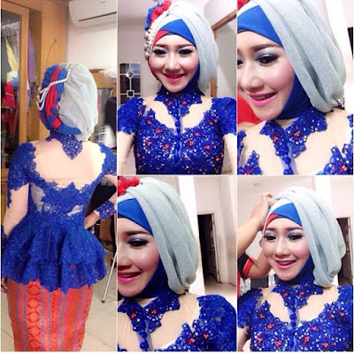 kebaya broklat biru hijab dengan rok batik prada