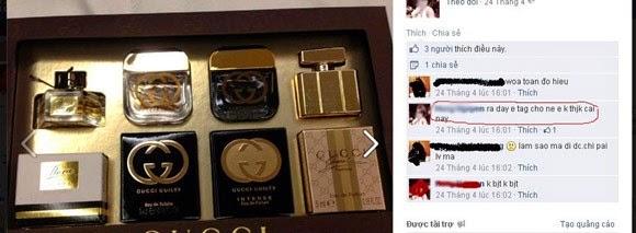 Những món đồ hàng hiệu được H.N đăng lên Facebook.