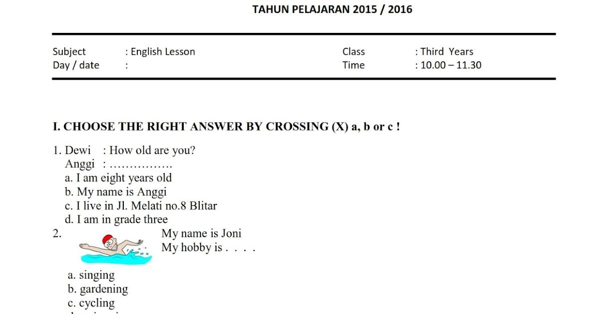 Download Soal Uas Ganjil Bahasa Inggris Kelas 3 Semester 1 2015 2016 Rief Awa Blog