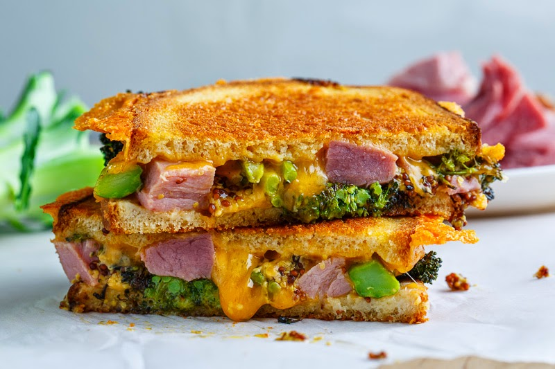 Roasted Broccoli, Ham and Cheddar Grilled Cheese on Closet Cooking