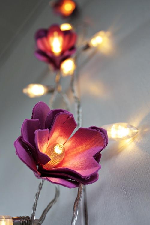 Diy Floral String Lights : Pocket Wonders: DIY: Egg Carton Flower Lights