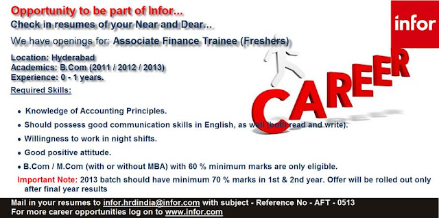 Infor Recruiting Bcom Freshers for Associate Finance Trainee @ Hyderabad