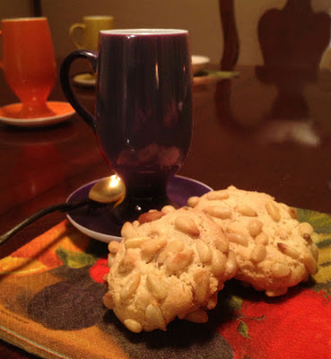 Pignoli Cookies with a cup of espresso
