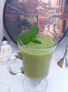 Avocado Mint Kale Cucumber Pineapple Green Smoothie