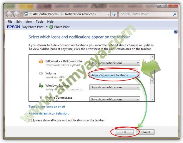 Gambar: Mengatur setting icon dan notifikasi volume speaker